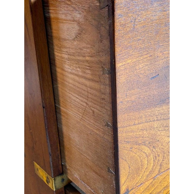 1850 Antique Campaign Teak Chest of Drawers For Sale - Image 10 of 13
