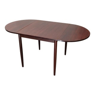 1960s Danish Modern Drop Leaf Solid Rosewood Dining Table For Sale