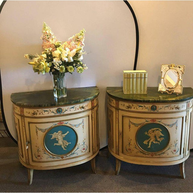 Adams Style Demilune Painted Commodes - A Pair - Image 2 of 11