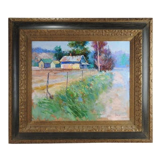 Ben Konis Fauvist Farmhouse Painting For Sale