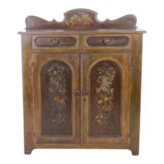Antique Country Fancy Painted Jelly Cupboard With Arch Paneled Doors For Sale