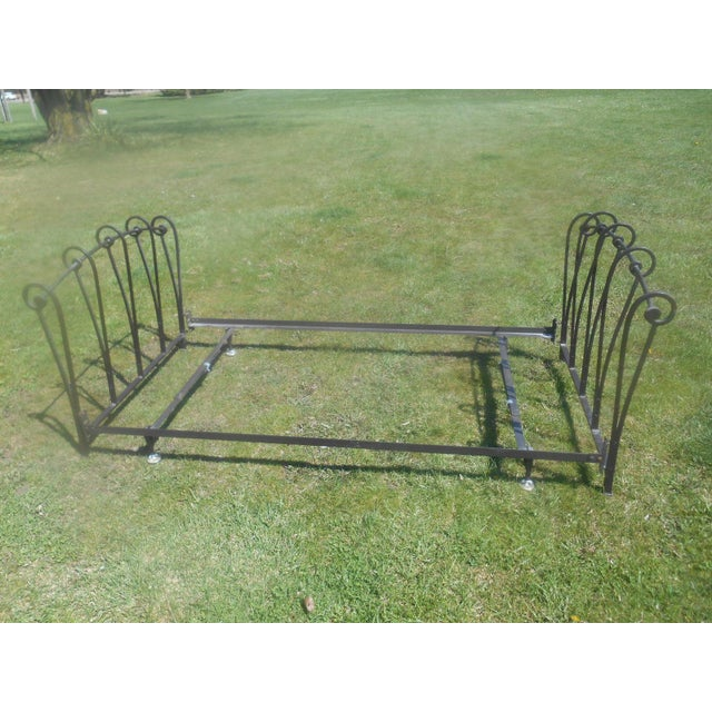 Wrought Iron Sleigh Twin Bed Frame - Image 4 of 10
