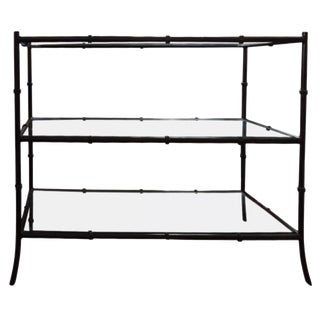 Hollywood Regency Faux Bamboo Wrought Iron and Glass Shelving Unit For Sale