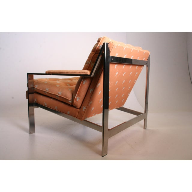 Vintage Chrome Upholstered Arm Chair by Cy Mann - Image 4 of 11
