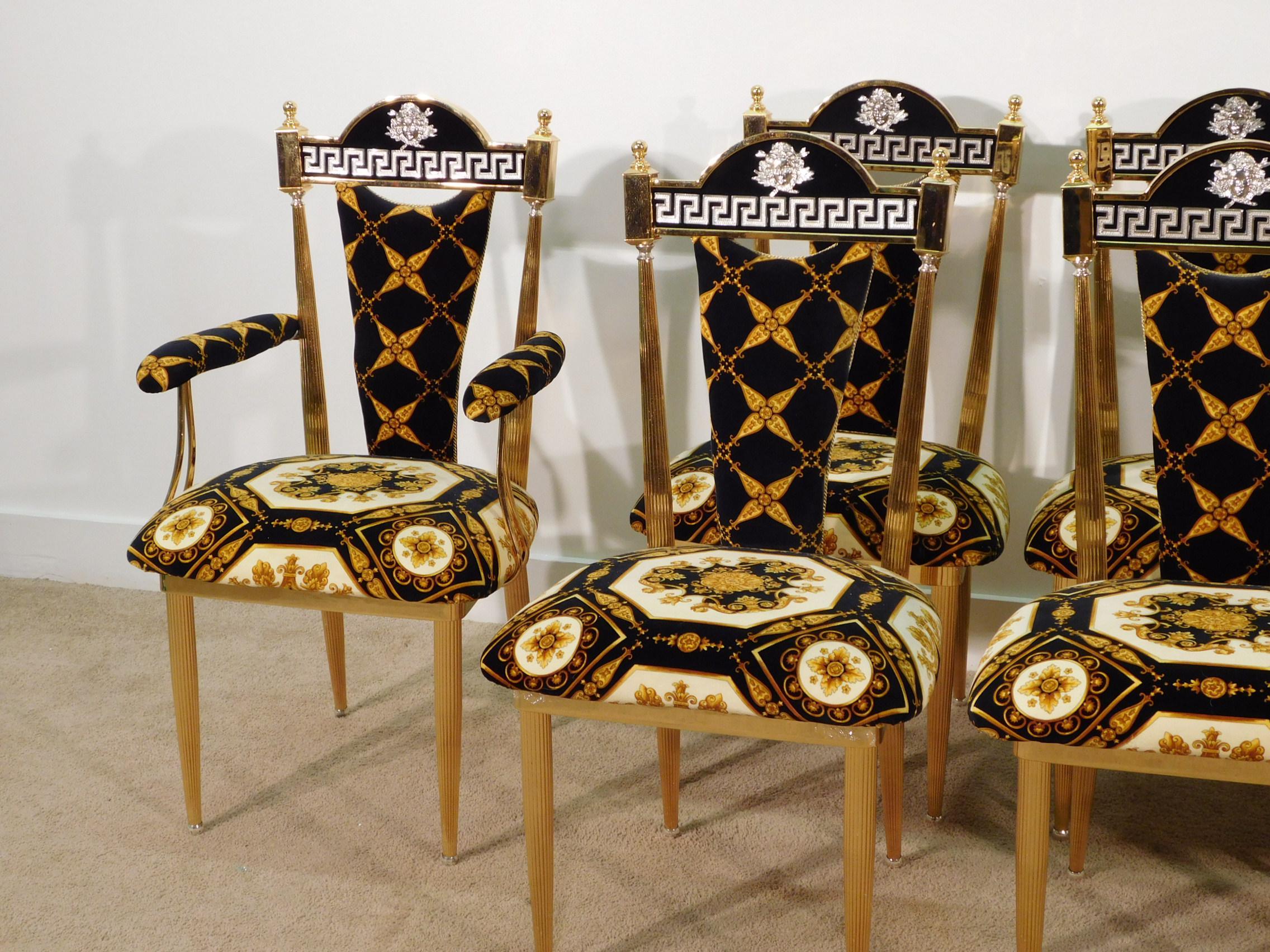 1990s Regency Atelier Versace Greek Key Cameo Gilt Dining Chairs   Set Of 8    Image
