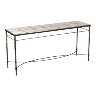 1980s Italian Iron and Travertine Tile Console Table For Sale