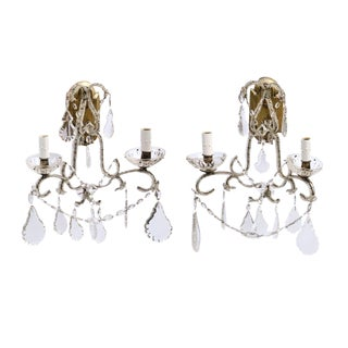 Pair of Italian Crystal Sconces For Sale