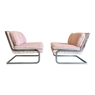 Mid-Century Modern Chrome Cantilever Lounge Chairs - a Pair For Sale