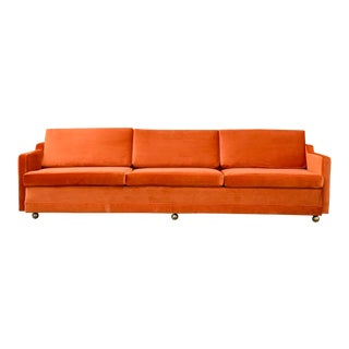 1960's Vintage Burnt Orange Velvet Sofa For Sale