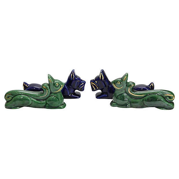 "Mid-Century Art Deco animal majolica knife rests. Dimensions: largest to smallest, 4""L x .75""W x 2""H to 4.25""L x .75""wWx..."