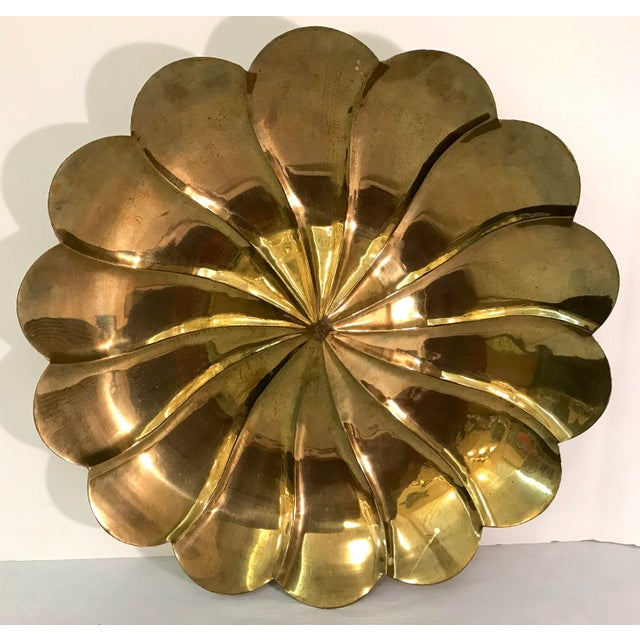 Gold Mid-Century Modern Brass Petal Shaped Bowl Wall Hanging For Sale - Image 8 of 8