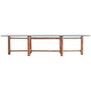 McGuire Bamboo Rattan Low Cocktail Table For Sale