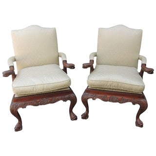 Late 19th C China Trade Library Chairs with Carved Dolphins For Sale