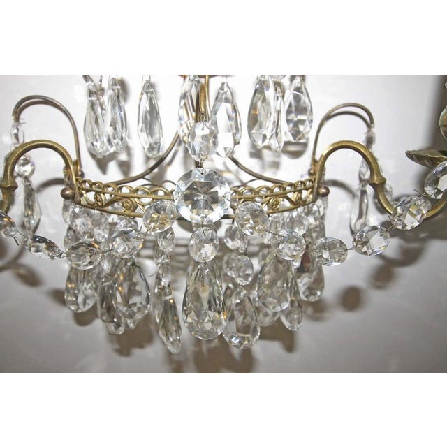 Metal 1920s Swedish Gustavian Style Crystal and Brass Candle Wall Sconces - a Pair For Sale - Image 7 of 11