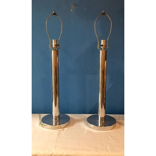 Mid-Century Modern Chrome Table Lamps - A Pair - Image 5 of 5
