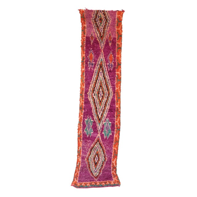 "Vintage Boujad Moroccan Rug - 2'7"" x 11'11"" - Image 1 of 4"