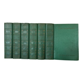"1931 English ""Galsworthy-The Nobel Prize Edition"" Emerald Green Books - 6 Volume Set For Sale"