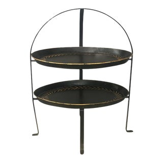 Black & Gold Tole Two-Tier Tray