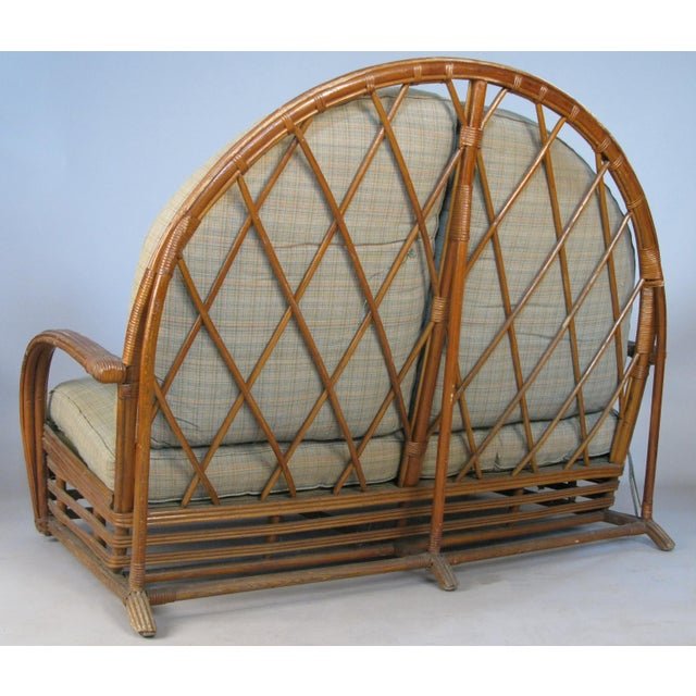 Tan Antique 1940s Arch Top Rattan Settee by Heywood Wakefield For Sale - Image 8 of 8