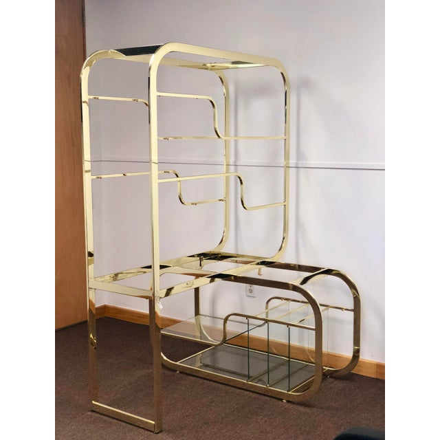 Metal 1970s Milo Baughman for Design Institute of America Brass Etagere For Sale - Image 7 of 9