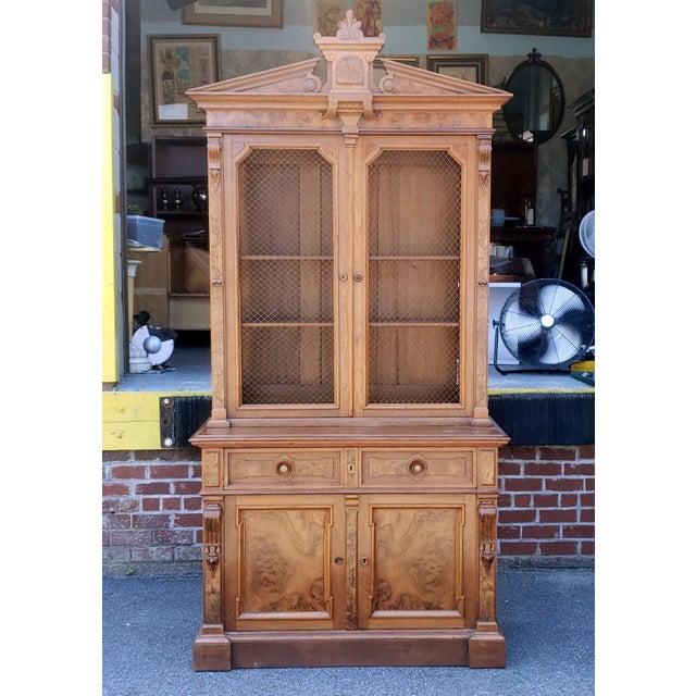 Antique 19th Century Palatial Size Burl Walnut Eastlake Victorian Butler's Secretary Desk C1860 For Sale - Image 13 of 13