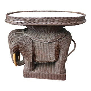 Vintage Wicker Elephant Tray Side Table With Marble Top For Sale