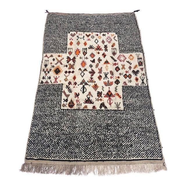 """Vintage Tribal Berber Wool Checkerboard Rug-5'2"""" X 8'8"""" For Sale"""