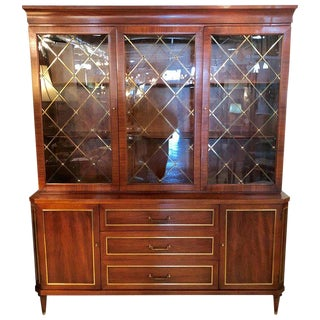 Two-Piece Rosewood Neoclassical in the Manner of Jansen Breakfront or Bookcase