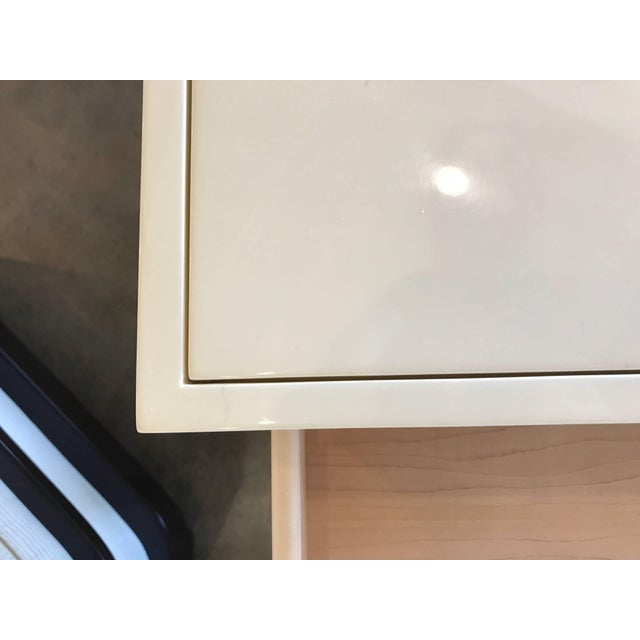 Wood Nancy Corzine Ivory Lacquer Three-Drawer Desk For Sale - Image 7 of 8