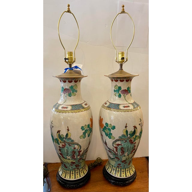 Vintage Chinese Crackle Pottery Table Lamps - a Pair For Sale In Los Angeles - Image 6 of 6