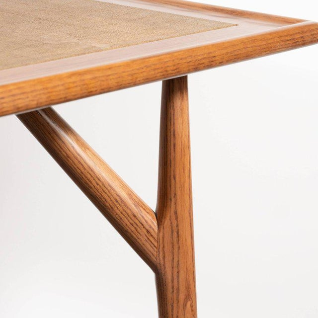 Mid-Century Modern Sculptural White Oak Table With Wrapped Linen Top For Sale - Image 4 of 10