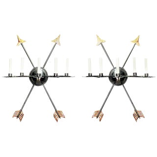 19th Century Italian Neoclassic Steel Wall Sconces - a Pair For Sale