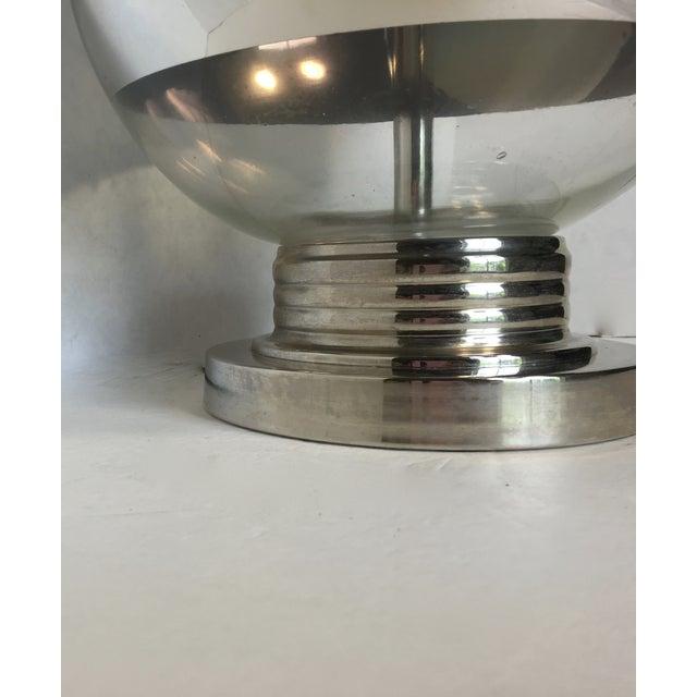 Mid-Century Round Silver Stripe Lamp - Image 6 of 7