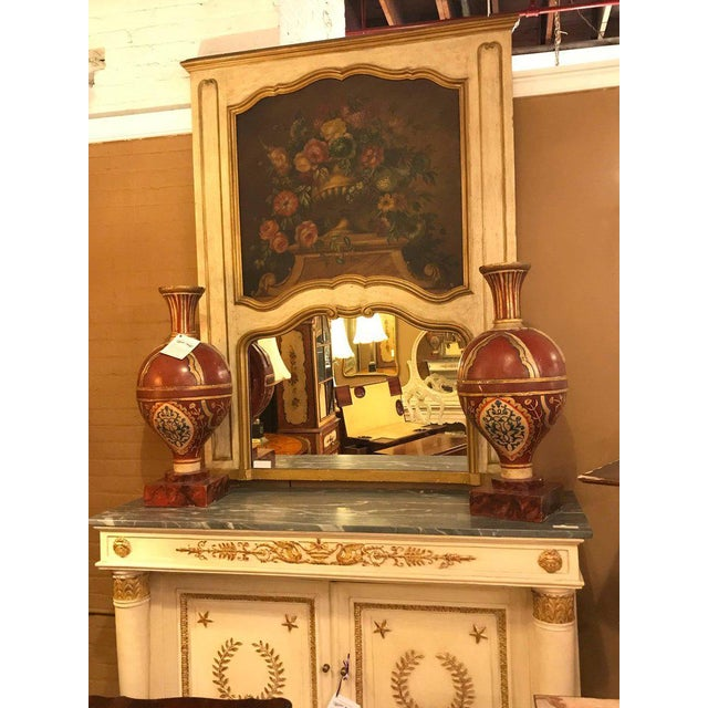 French Antique Painted And Parcel Gilt Trumeau or Over The Mantel Wall Mirror For Sale - Image 10 of 12