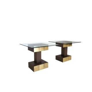 Mid Century Modern Brass and Copper Metal Paul Evans Style Side Tables For Sale