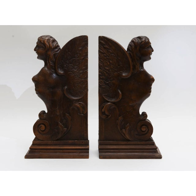 Figurial Walnut Carved Bookends - a Pair For Sale - Image 4 of 11