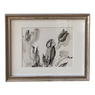 Floral Inkwash Painting For Sale