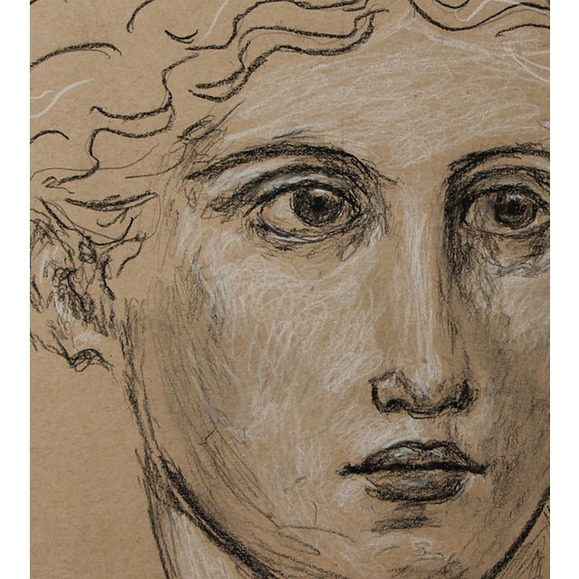 Bold, flowing lines in black, rapid strokes of white charcoal and subtle shades of pencil create this impressive face or...