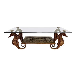 1970s Gilt Metal Seahorse Coffee Table With Smoked Glass For Sale