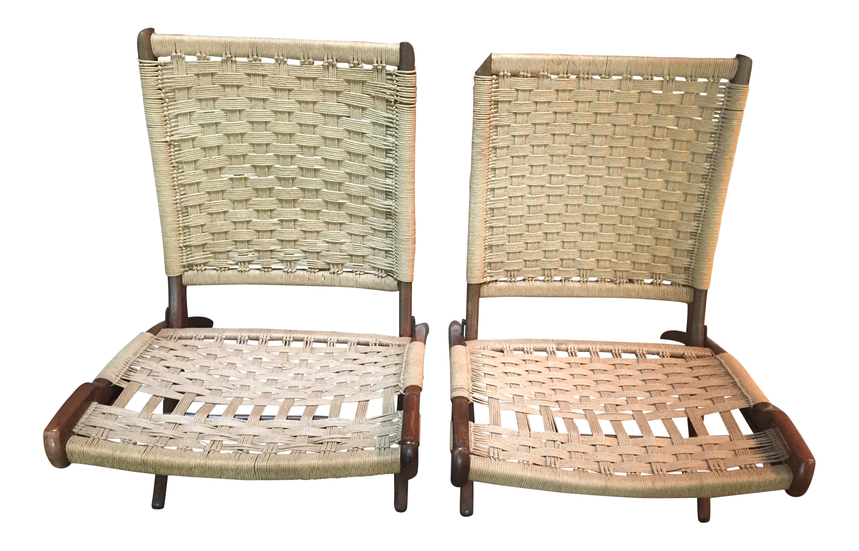 Hans Wagner Style / Ebert Wels Folding Rope Chairs   A Pair