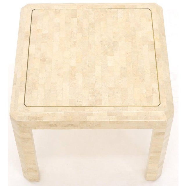 Tesselated Stone Brass Inlay Square Side End Table For Sale - Image 10 of 12