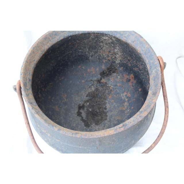 Vintage Cast Iron Cauldron For Sale - Image 4 of 6
