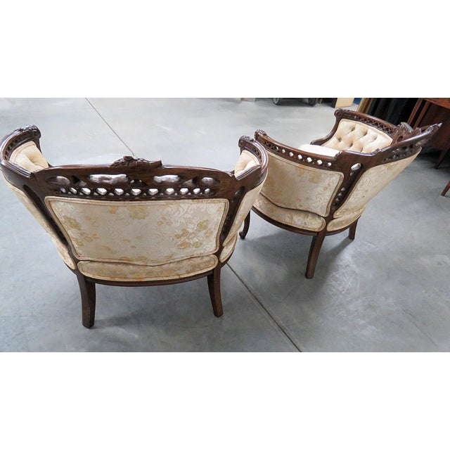Late 20th Century Louis XV Style Marquis Chairs - a Pair For Sale - Image 5 of 12