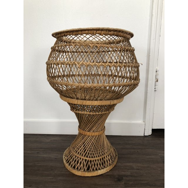 Vintage 1970's Natural Woven Wicker Rattan Boho Planter For Sale - Image 4 of 8