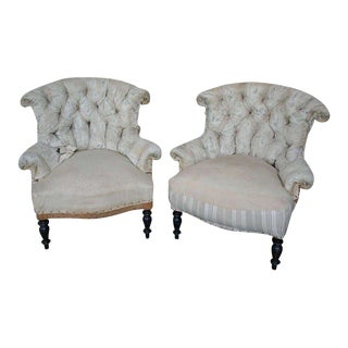 19th Century Napoleon III Tufted Muslin Armchairs - a Pair For Sale