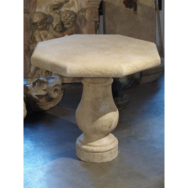 Carved Octagonal Stone Side Table From Provence, France For Sale - Image 9 of 10