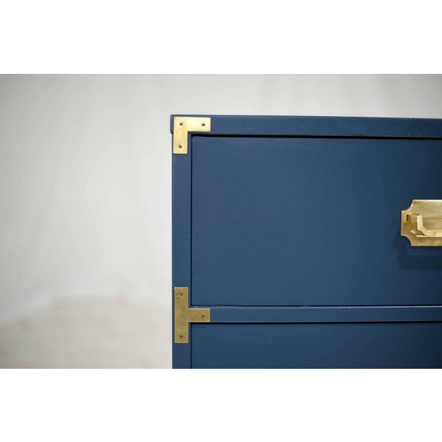 Blue 1970s Blue Six Drawer Campaign Dresser or Chest - Newly Painted For Sale - Image 8 of 12