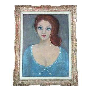 1960's Vintage Oil on Canvas Portrait of a Woman For Sale