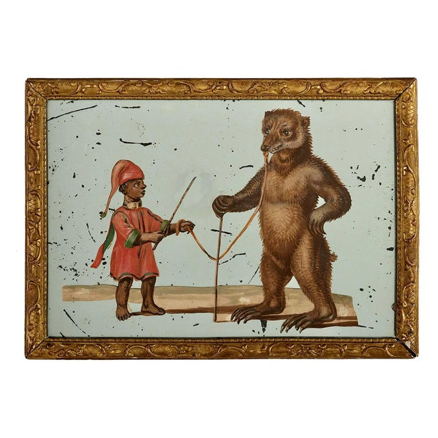 19th C. French Exotic Hand-Painted Decoupage Mirror, Animal Trainer & Bear For Sale - Image 13 of 13