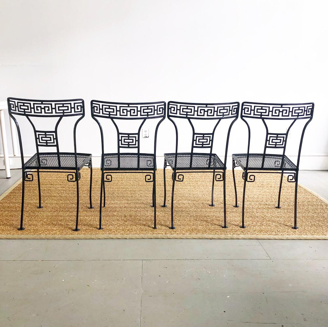 Salterini 1950s Wrought Iron Greek Key Patio Dining Chairs Set Of 4